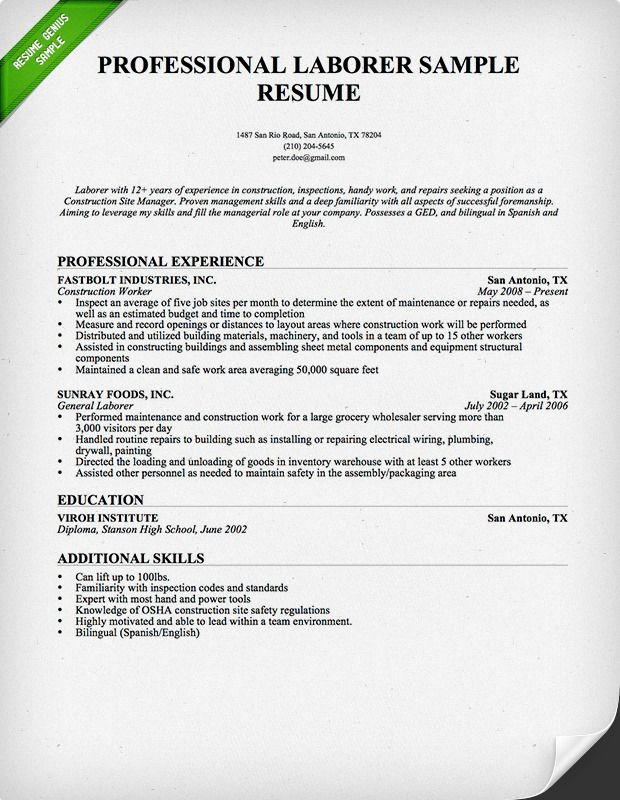 construction worker resume sample genius professional samples examples skills format for Resume Resume Format For Construction Job