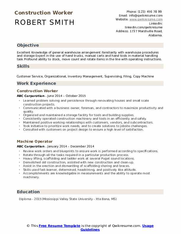 construction worker resume samples qwikresume format for job pdf human resources Resume Resume Format For Construction Job