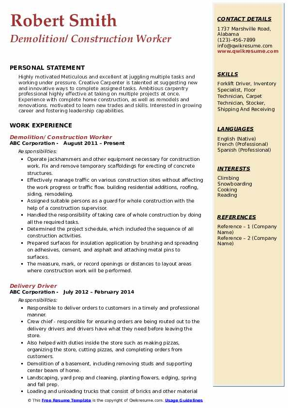 construction worker resume samples qwikresume format for job pdf outlet manager Resume Resume Format For Construction Job