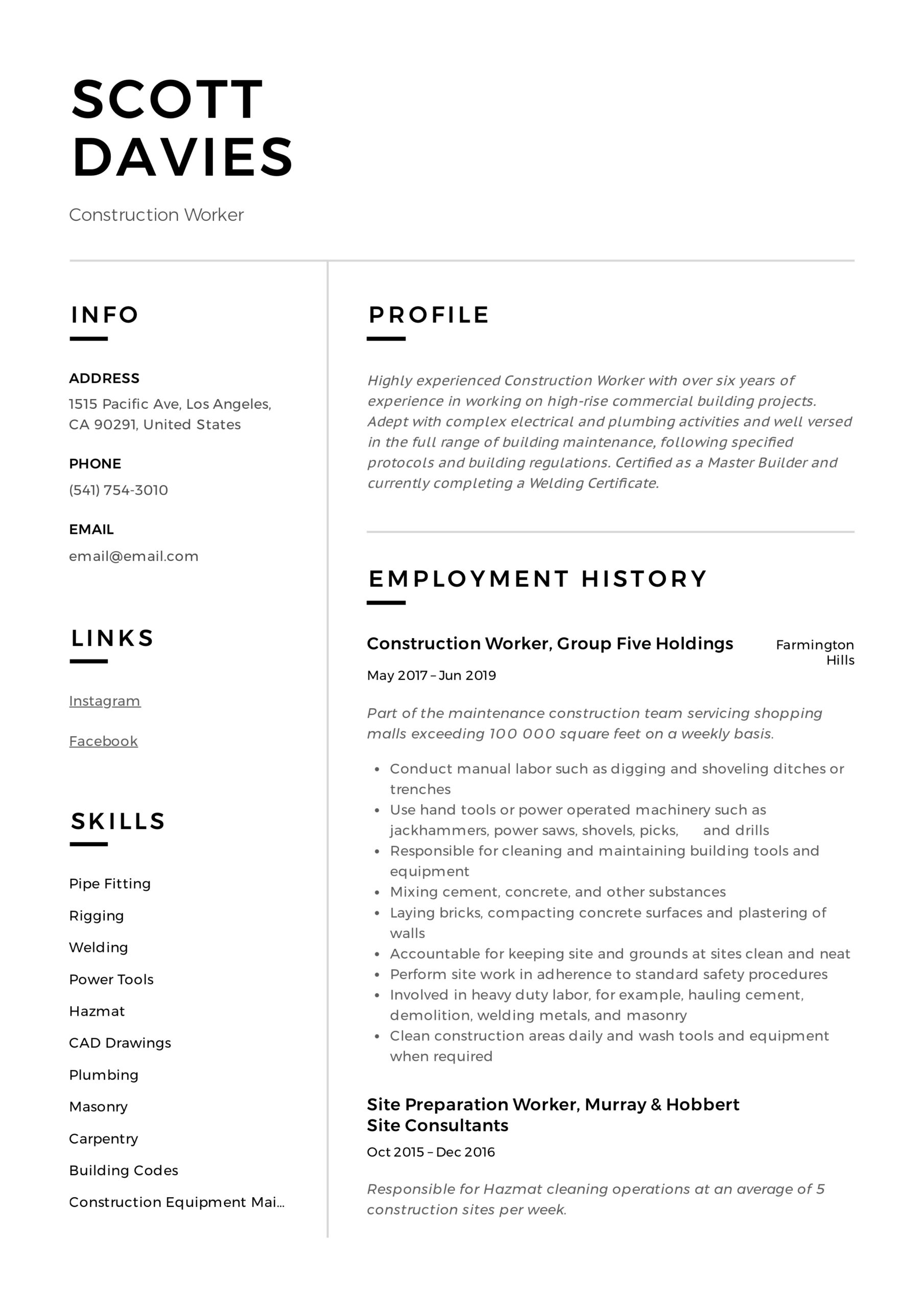 construction worker resume writing guide templates format for job certified writer cpr Resume Resume Format For Construction Job