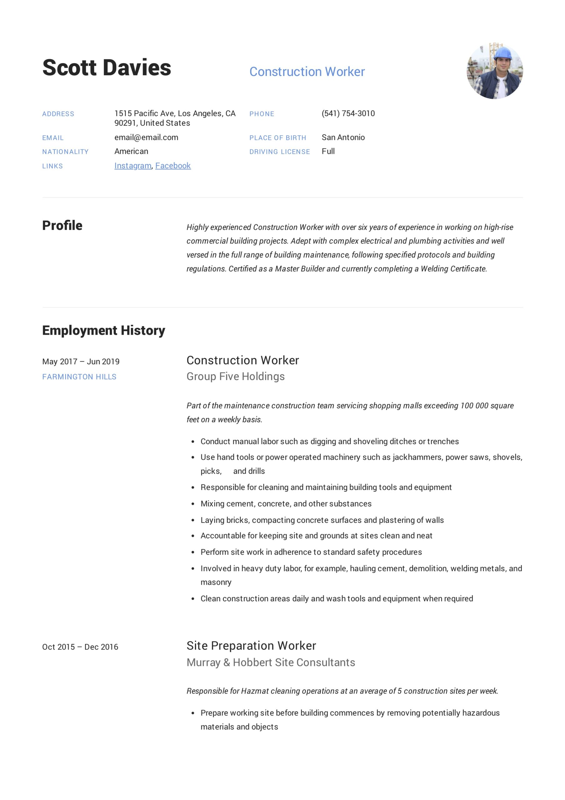 construction worker resume writing guide templates template personal marketing ups driver Resume Construction Worker Resume Template