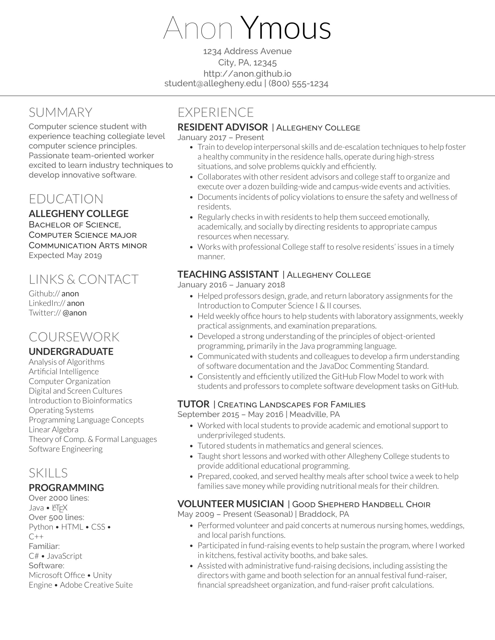 constructively critique my resume please undergrad first time resumes latex template Resume Latex Resume Template Reddit