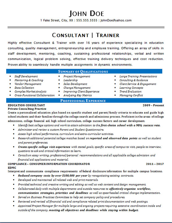 consultant trainer resume example education staff development objective for resume1 Resume Resume Objective For Trainer