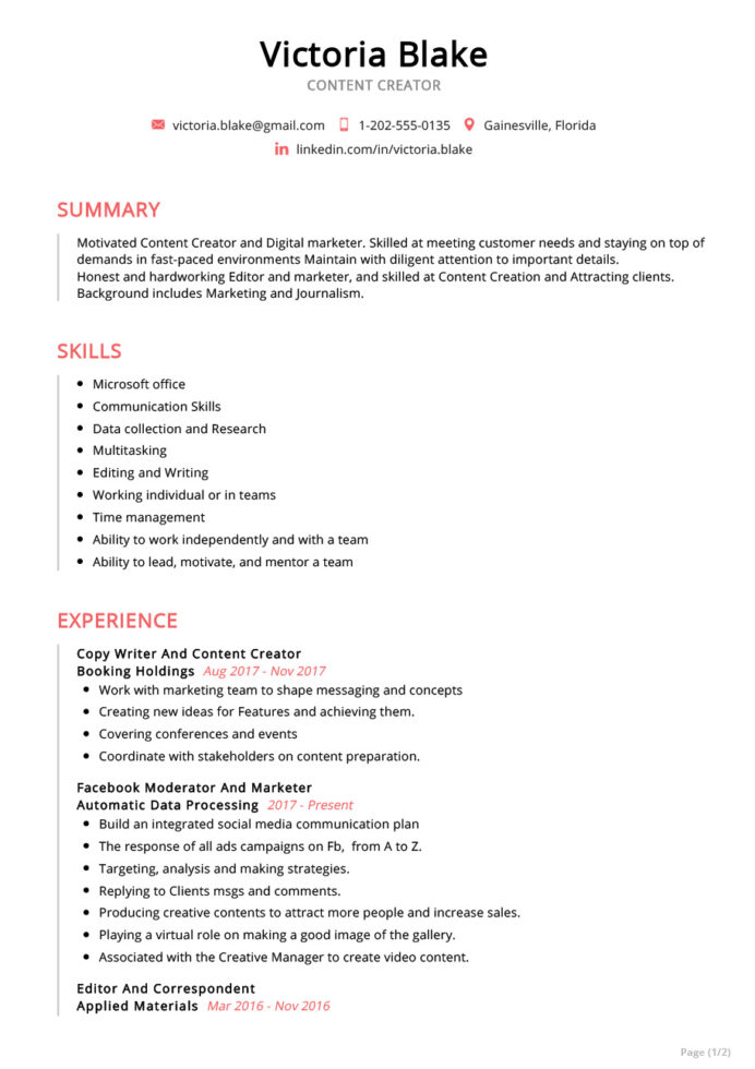 content creator resume example sample resumekraft copy of jobscan marketing writer for Resume Copy Of A Resume Sample