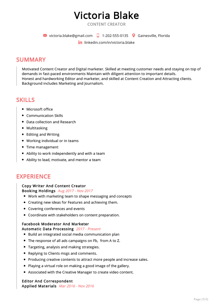 content creator resume example sample resumekraft summary builder for instrumentation Resume Summary Builder For Resume