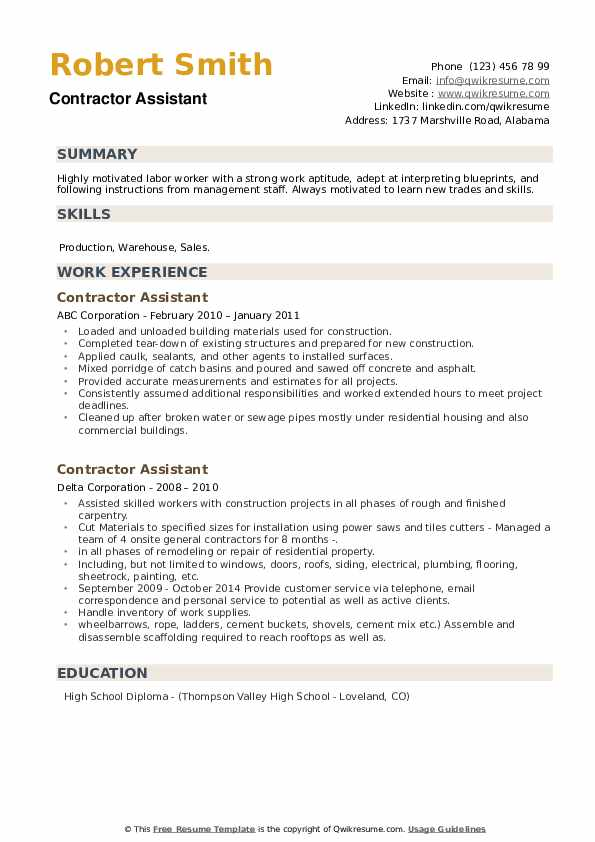 contractor assistant resume samples qwikresume pdf font combinations pharmacy technician Resume Contractor Assistant Resume