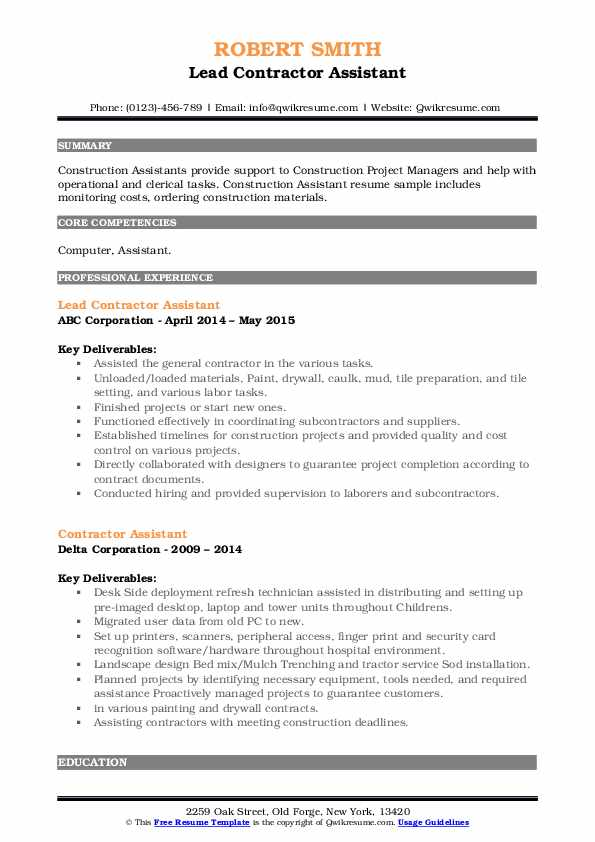 contractor assistant resume samples qwikresume pdf mac builder software entry level Resume Contractor Assistant Resume