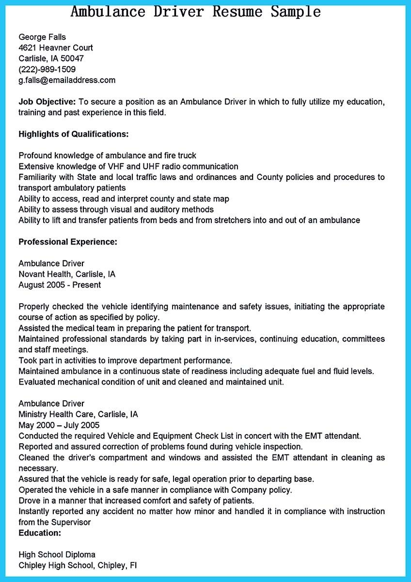 cool stunning bus driver resume to gain the serious job jobs examples ambulance school Resume School Bus Driver Resume