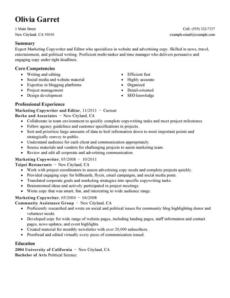 copywriter and editor examples no experience resumes livecareer for writers editors Resume Resumes For Writers And Editors