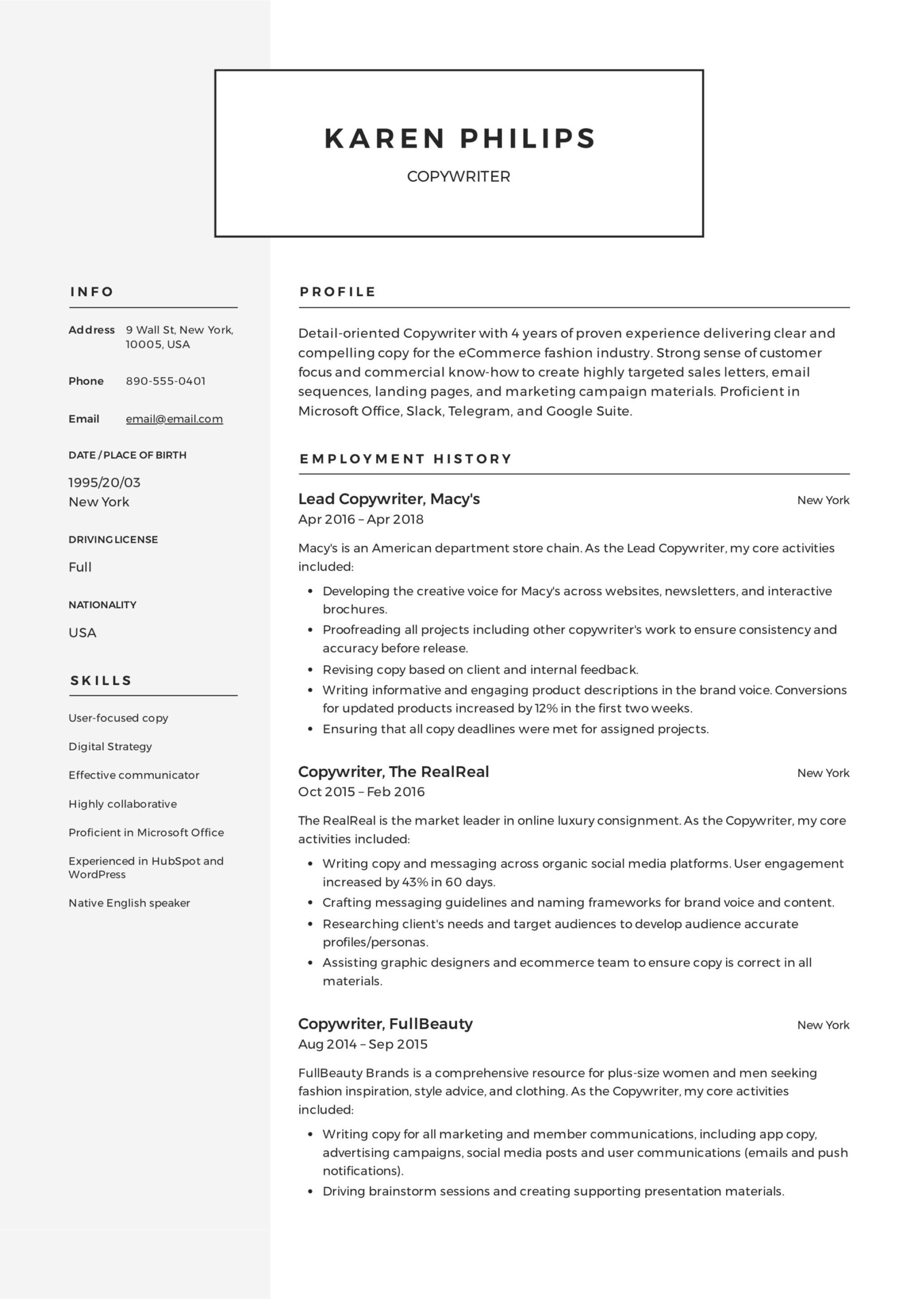 copywriter resume writing guide templates pdf entry level template rbt deli worker Resume Entry Level Copywriter Resume
