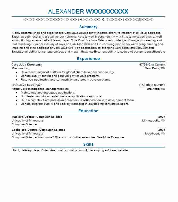 core developer resume example resumes livecareer years experience good summary statement Resume Java Developer Resume 8 Years Experience