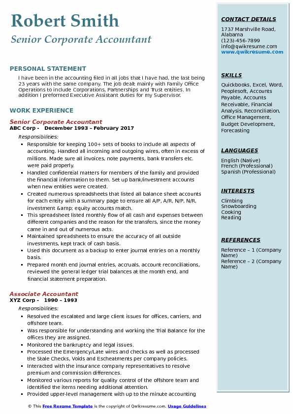corporate accountant resume samples qwikresume job description for pdf security auditor Resume Accountant Job Description For Resume