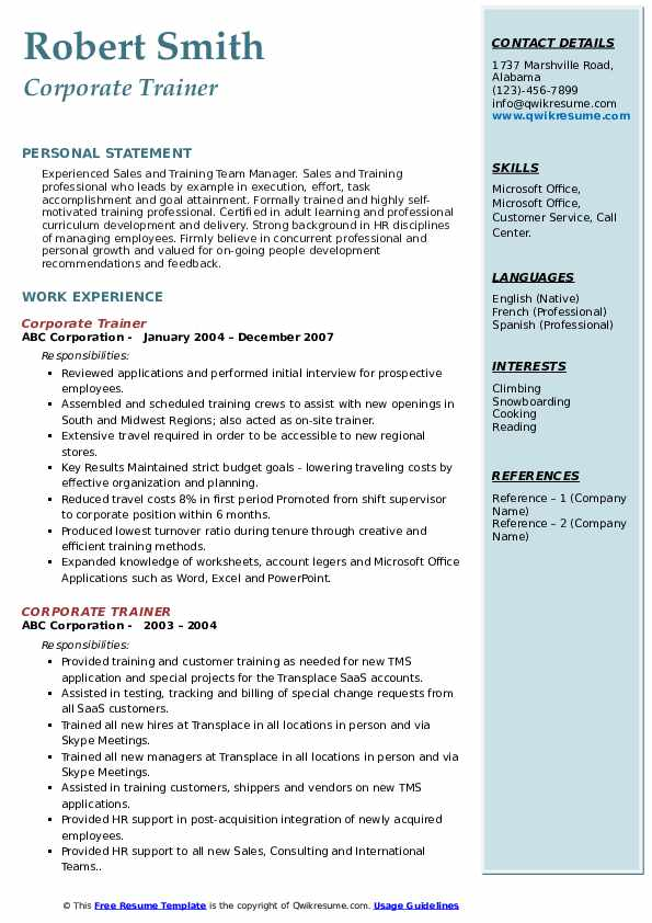 corporate trainer resume samples qwikresume objective for pdf lou holtz coaching sap mdg Resume Resume Objective For Trainer