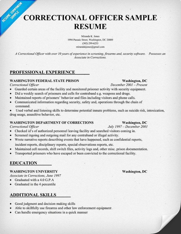 correctional officer resume sample companion writing examples medical assistant retired Resume Retired Correctional Officer Resume