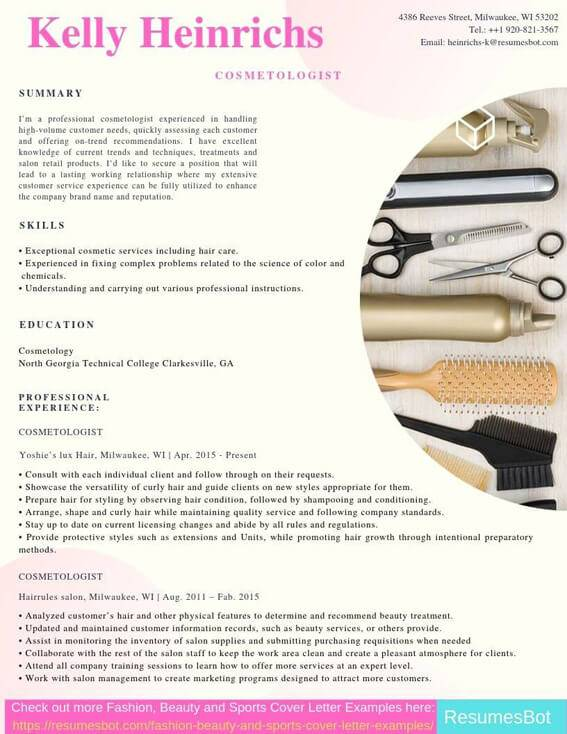 cosmetologist resume samples templates pdf resumes bot cosmetology skills for example Resume Cosmetology Skills For Resume