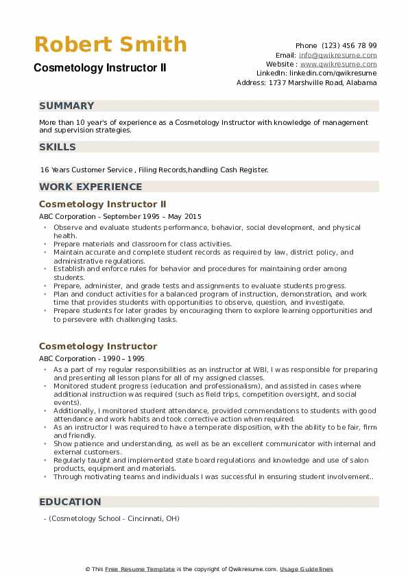 cosmetology instructor resume samples qwikresume pdf format for directors profile Resume Cosmetology Instructor Resume