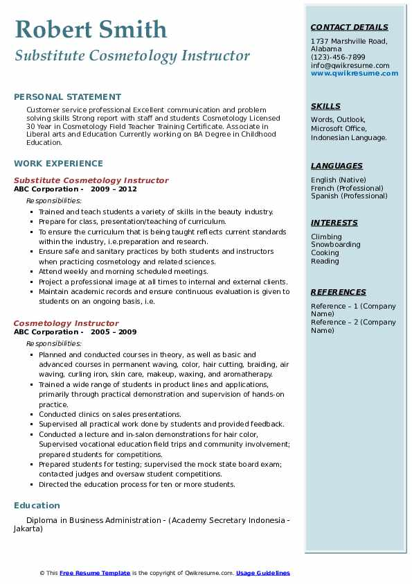 cosmetology instructor resume samples qwikresume pdf structural engineer headline for Resume Cosmetology Instructor Resume