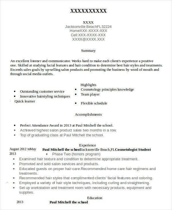 cosmetology resume free word pdf documents premium templates student examples elementary Resume Cosmetology Resume Templates Free