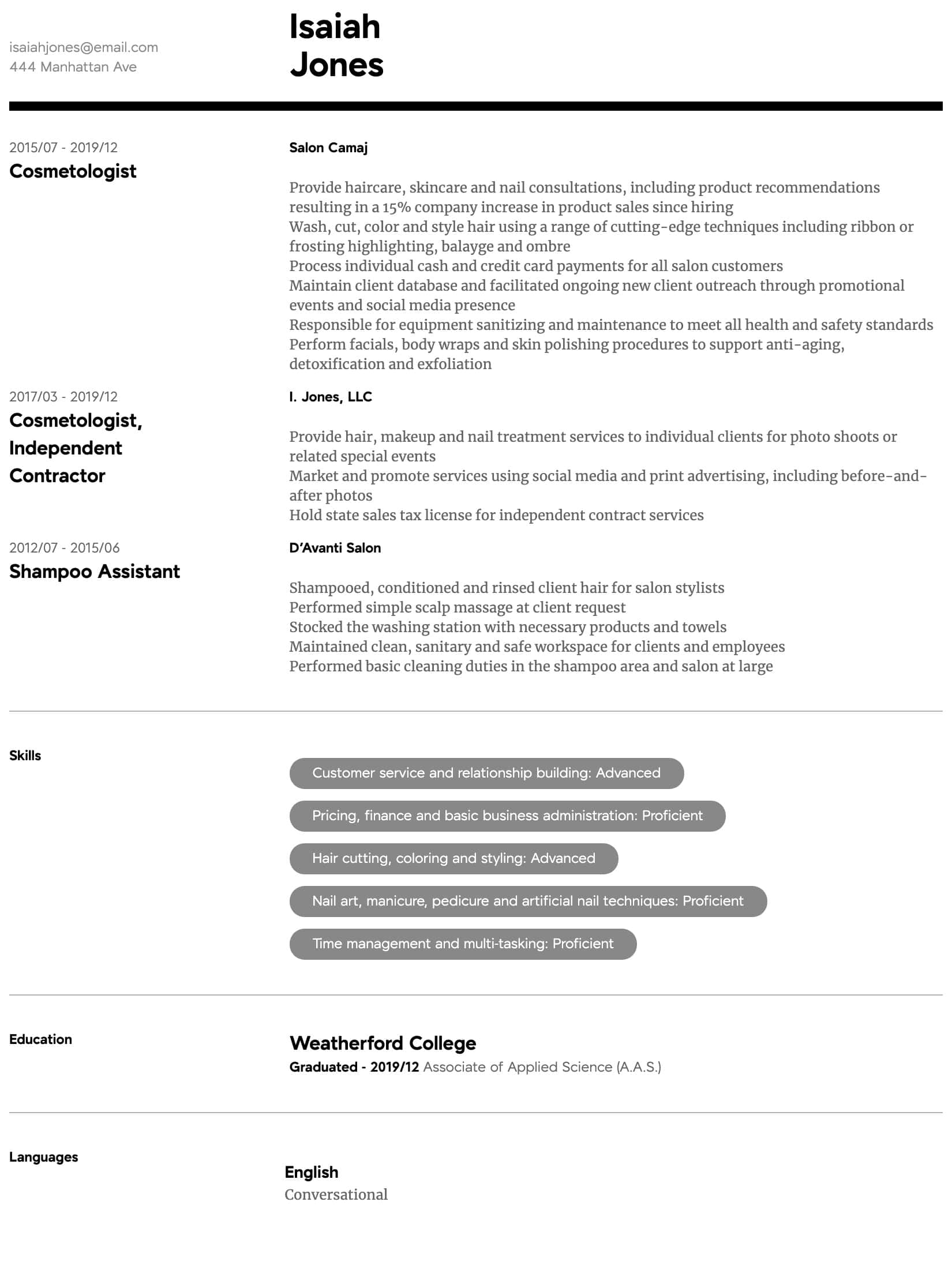 cosmetology resume samples all experience levels skills for intermediate ats approved Resume Cosmetology Skills For Resume