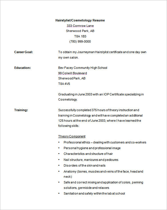 cosmetology resume samples ipasphoto templates free sample cosmetologist template hvac Resume Cosmetology Resume Templates Free
