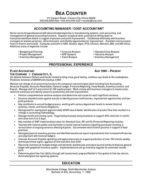 cost accountant resume example job description for sample finance10 federal prose reviews Resume Accountant Job Description For Resume