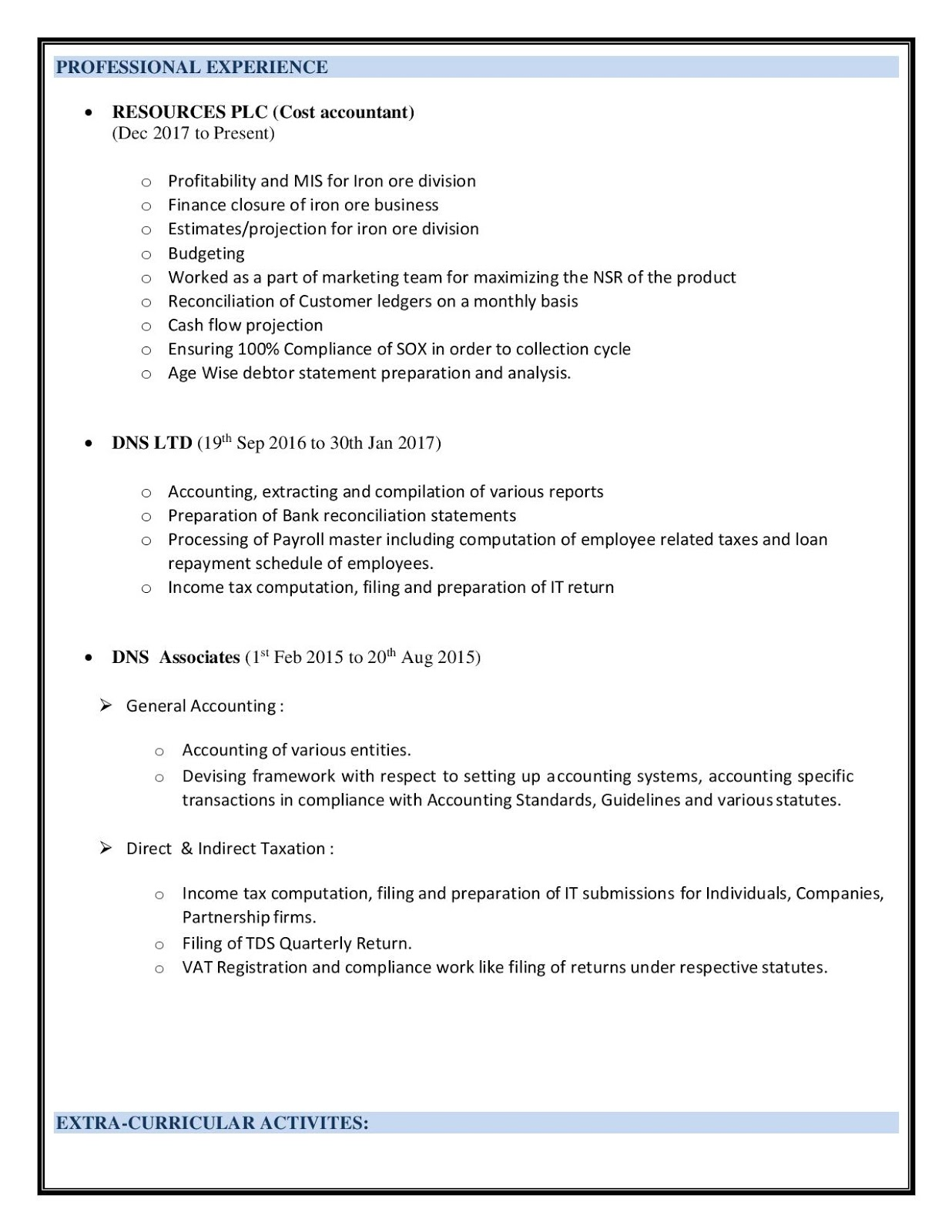 cost accountant resume sample example template summary samples projects now former Resume Cost Accountant Resume Summary