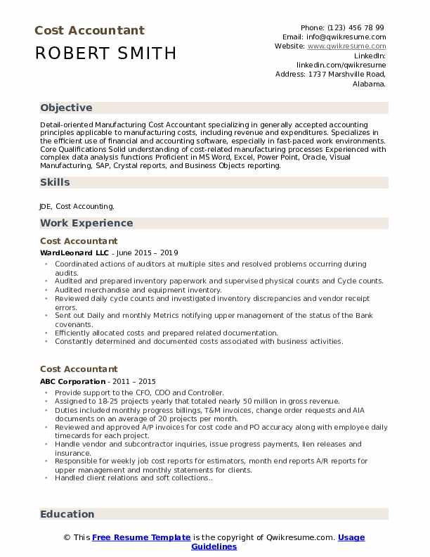 cost accountant resume samples qwikresume summary pdf order of employment on teacher Resume Cost Accountant Resume Summary