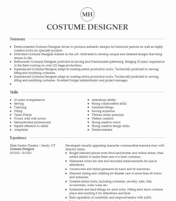 costume designer resume example resumes livecareer template product marketing manager for Resume Costume Designer Resume Template