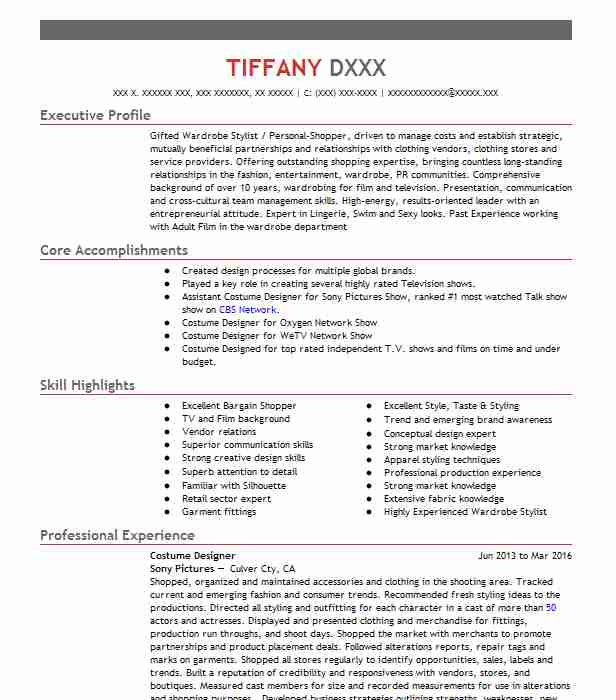 costume designer resume example resumes livecareer template system administrator Resume Costume Designer Resume Template