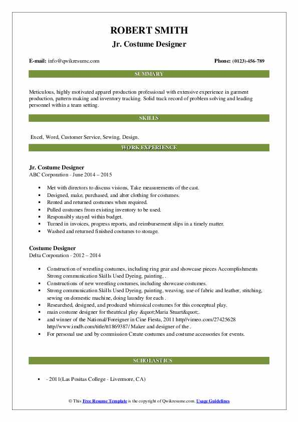 costume designer resume samples qwikresume template pdf system administrator internship Resume Costume Designer Resume Template