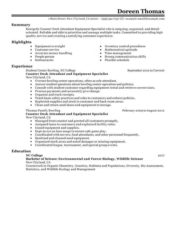 counter desk attendant equipment specialist resume examples free to try today Resume Service Attendant Resume