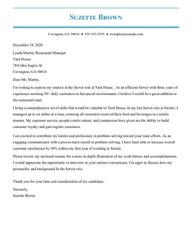 cover letter examples by job my perfect resume and builder server food service pinstripe Resume Resume And Cover Letter Builder