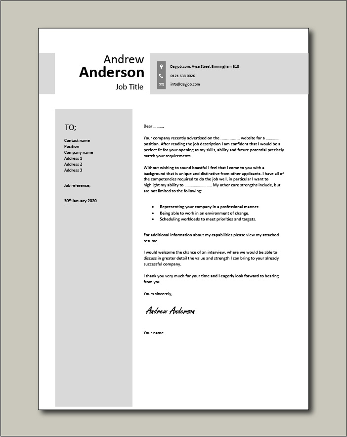 cover letter examples for different job roles in dayjob resume free example shadowing Resume Cover Page For Resume