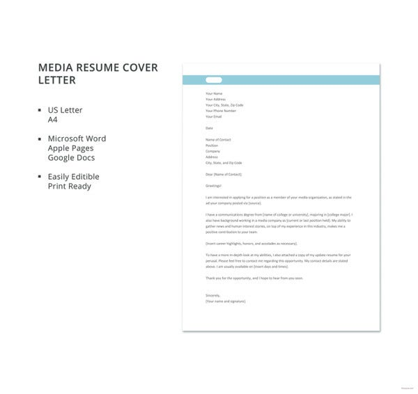 cover letter examples free premium templates professional resume media template2 sample Resume Professional Resume Cover Letter Examples