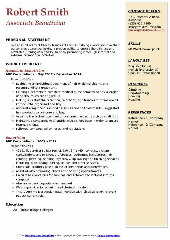cover letter for beautician cv samples cosmetology resume templates free pdf instant Resume Cosmetology Resume Templates Free