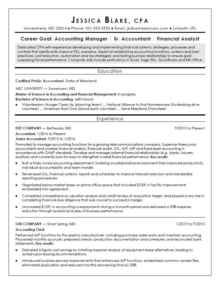 cpa resume sample monster entry level operations manager objective tips for veterans Resume Cpa Resume Sample Entry Level