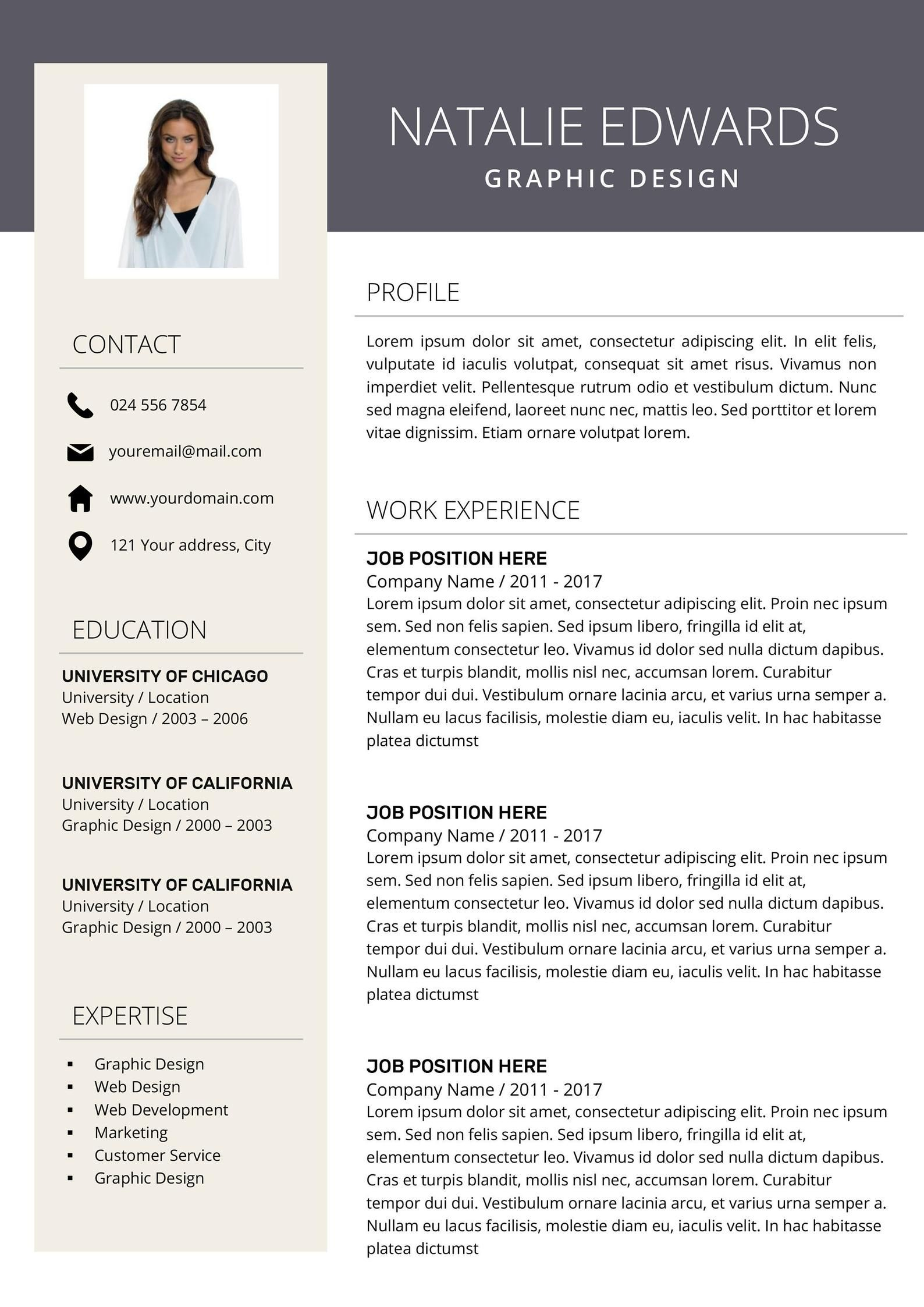 creative resume template cv for ms word and professional modern design instant in Resume Creative Resume Profile