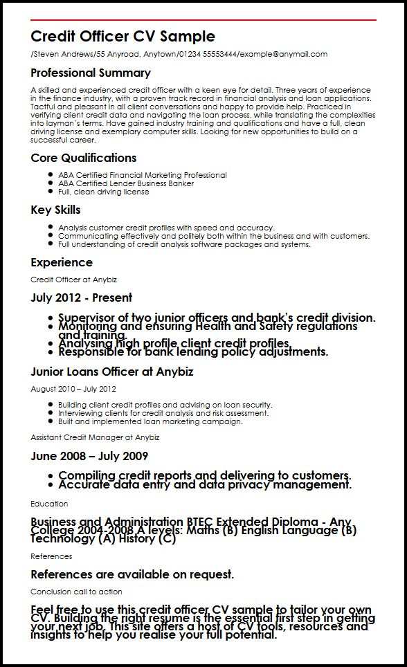 credit officer cv example myperfectcv loan resume job description sample military Resume Loan Officer Resume Job Description