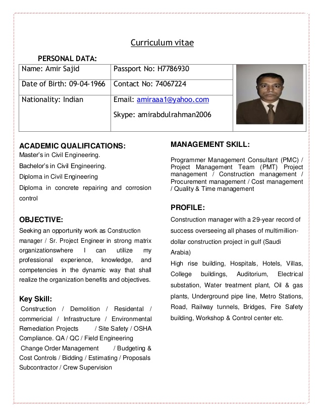 curriculum vitae of civil engineer for construction manager or sr pr project resume Resume Construction Project Engineer Resume Objective