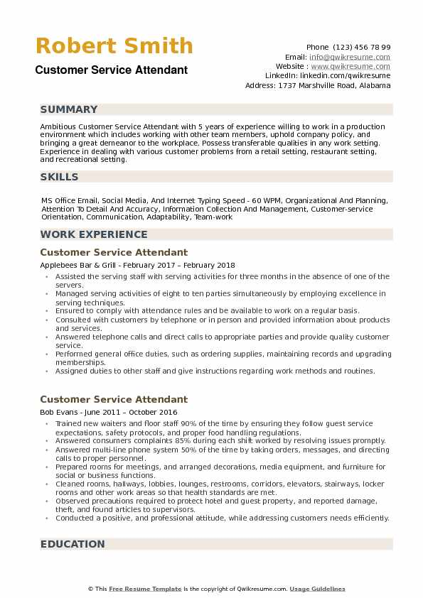 customer service attendant resume samples qwikresume pdf with promotions within the same Resume Service Attendant Resume