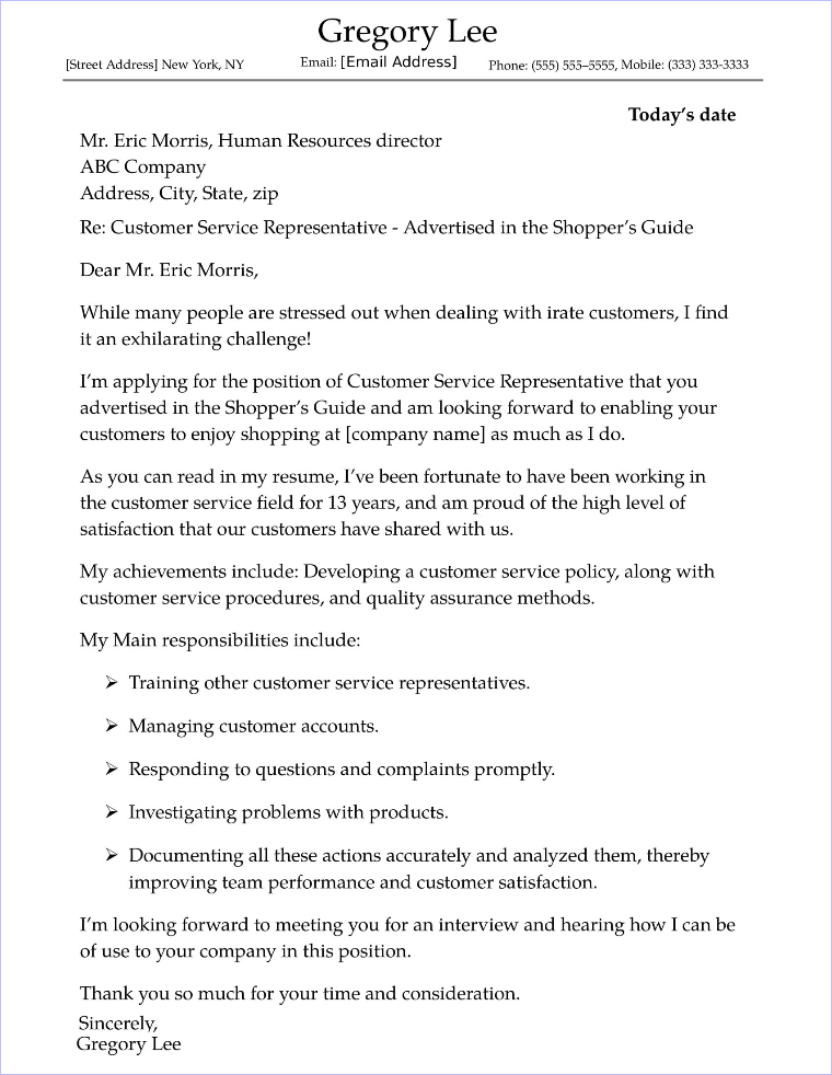 customer service cover letter sample resume matching computer science teacher objective Resume Customer Service Resume Cover Letter