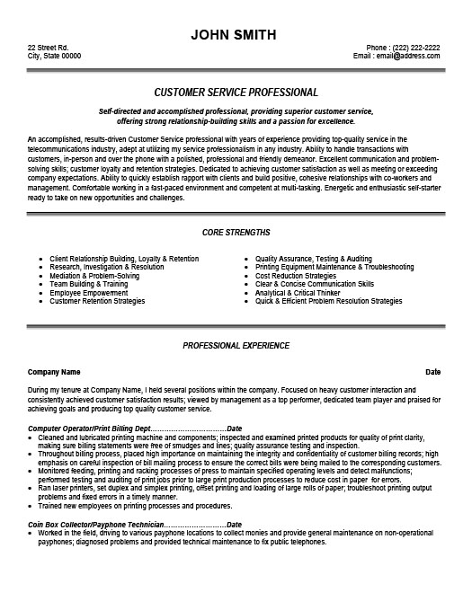 customer service professional resume template premium samples example bartender skills Resume Professional Customer Service Resume