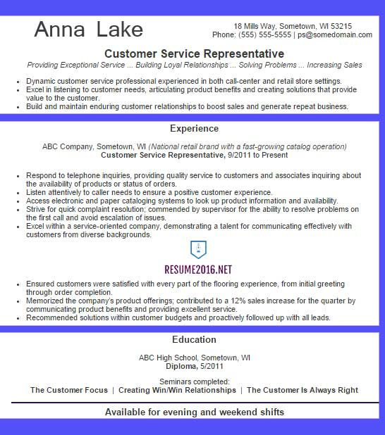 customer service representative resume example examples blue best format for computer Resume Customer Service Representative Resume Examples