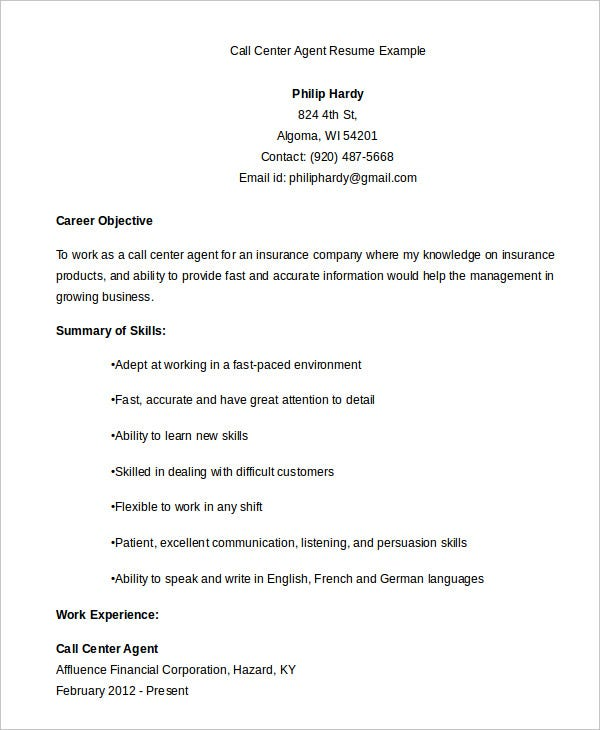 customer service resume sample for call center agent examples example objective probation Resume Call Center Customer Service Resume Examples