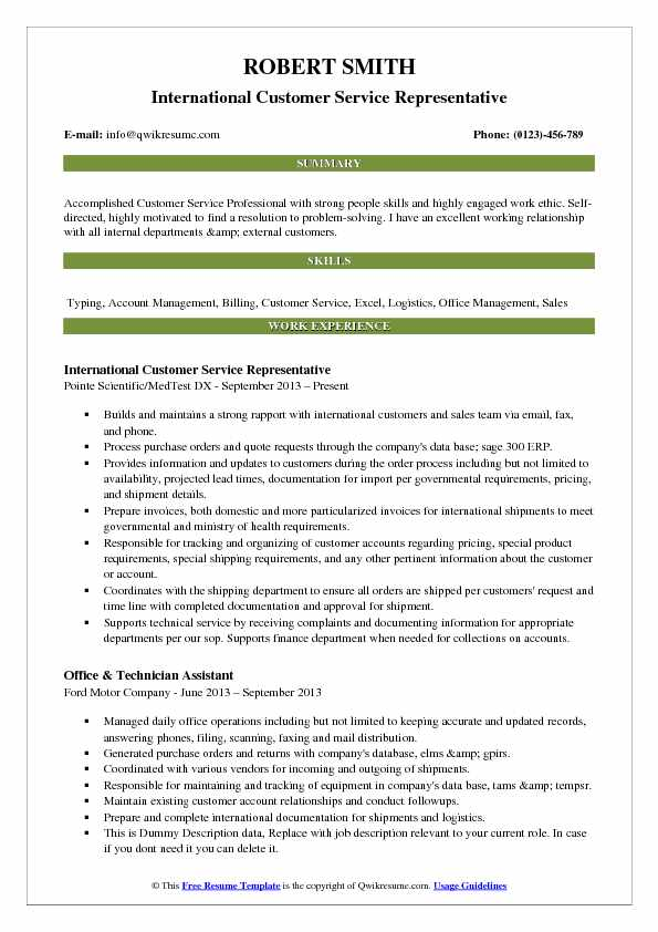 customer service resume samples examples and tips title for international representative Resume Resume Title For Customer Service