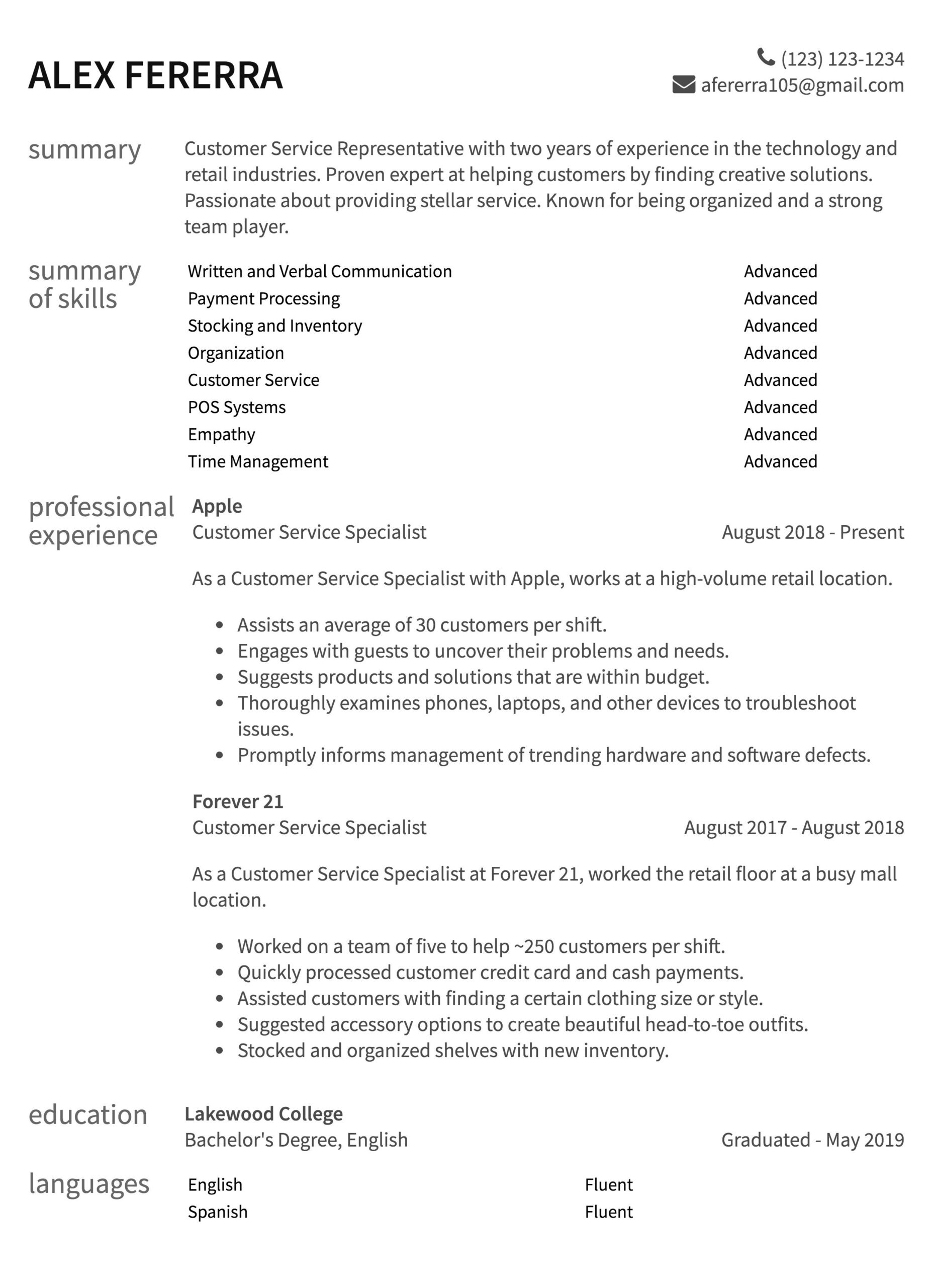 customer service resume samples to guide for position two year exp easy email of forestry Resume Resume For Customer Service Position