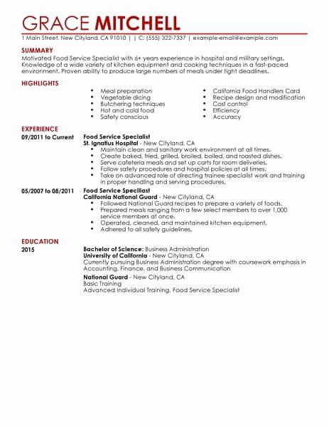 customer support specialist resume inspirational simple food service example examples Resume Food Service Resume Examples
