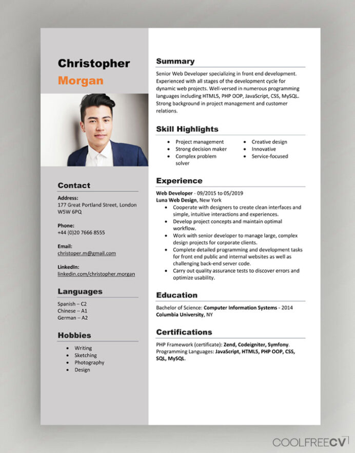 cv resume templates examples word new format template with photo for hospital job general Resume New Resume Format Template