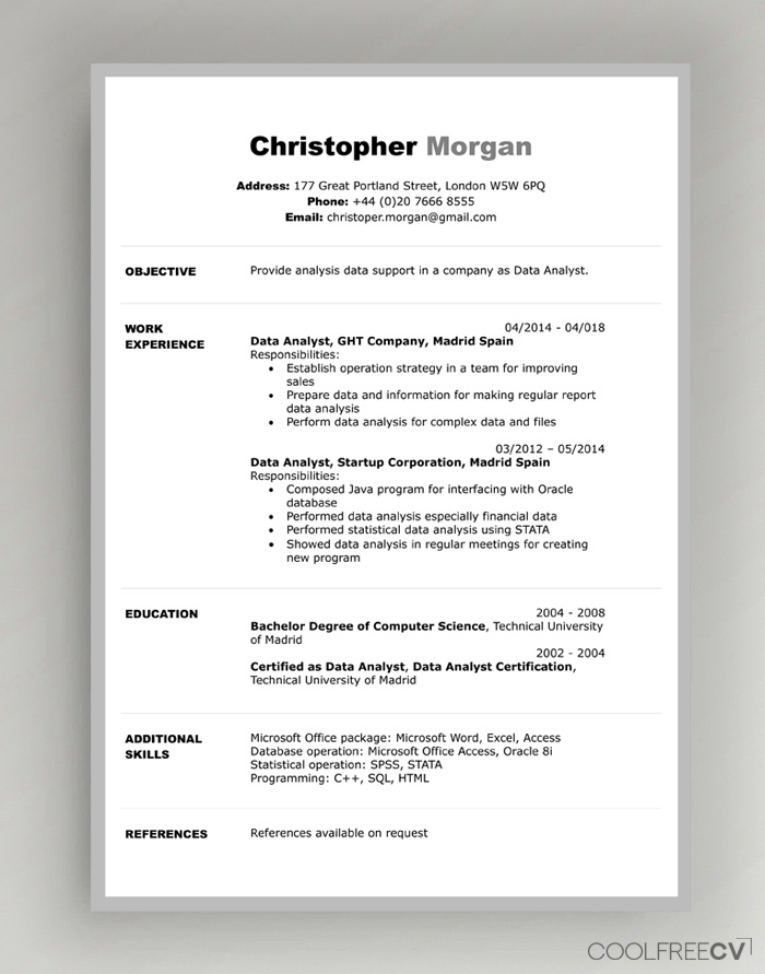 cv resume templates examples word sample file template objective for insurance claims Resume Resume Sample Word File