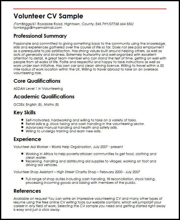 cv template volunteer experience resume format examples work good on example skills for Resume Volunteer Work On Resume Example